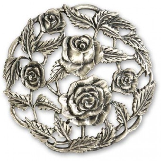 Pewter Rose Lid 3 1/4''